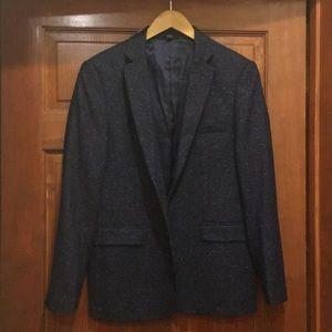 Speckled navy wool tweed sport coat.